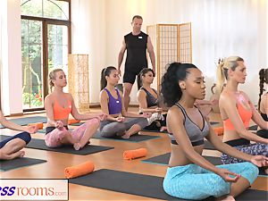 FitnessRooms sweaty bosom in a room utter yoga babes